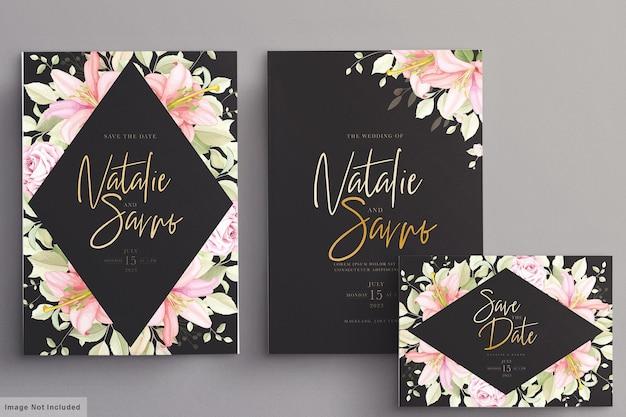 手描き花の結婚式の招待カードセット