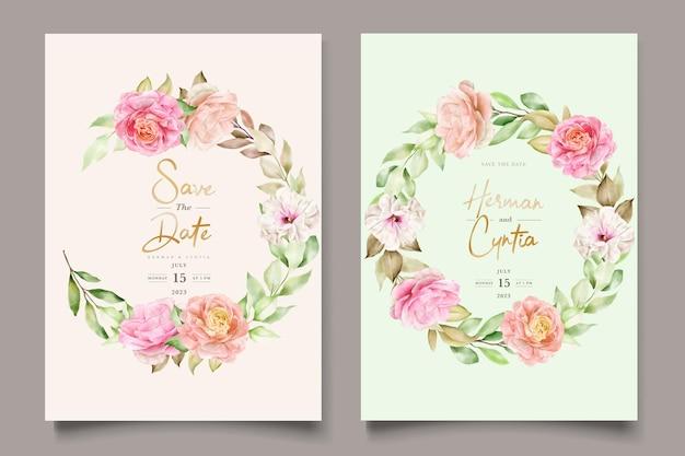 Hand drawn floral wedding invitation card set