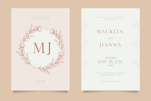 Hand drawn floral wedding invitation card template design in line art style