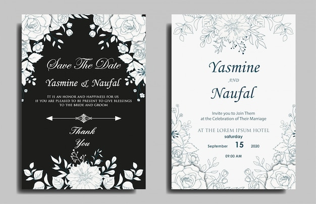 Hand drawn floral wedding invitation card template design