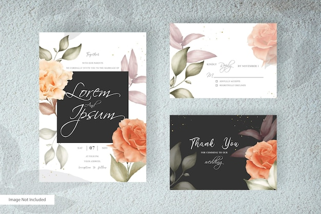 Hand drawn floral wedding invitation card template in minimalist style