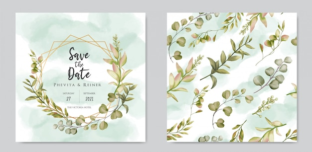 Hand drawn floral wedding invitation card template and seamless pattern bundle