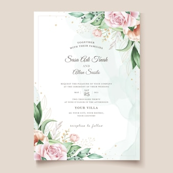Hand drawn floral wedding invitation card template