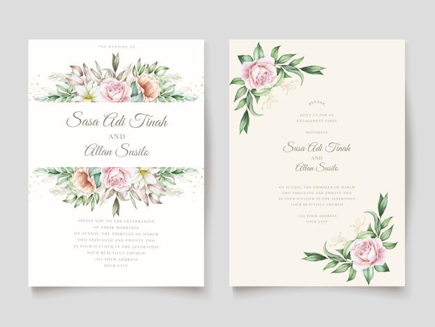 Ручной обращается цветочные свадебные приглашения карты шаблон