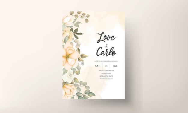 손으로 그린 된 꽃 결혼식 초대 카드 서식 파일