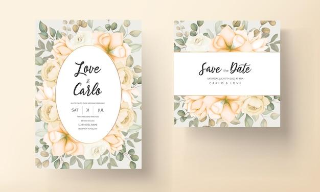 Ручной обращается цветочный шаблон свадебного приглашения