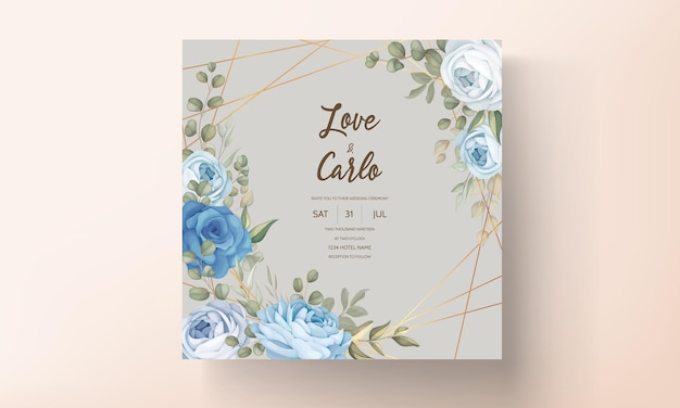 手描きの花の結婚式の招待カードのテンプレート