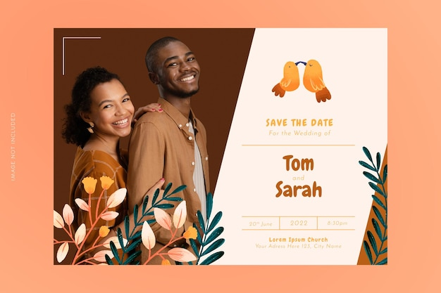손으로 그린 된 꽃 결혼식 초대 카드