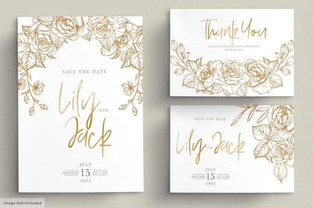 손으로 그린 꽃 결혼식 초대 카드