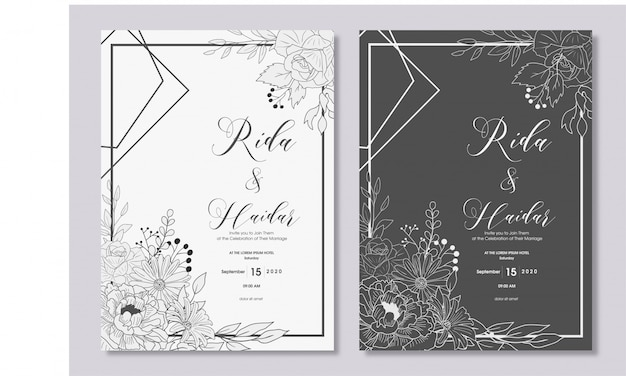 Hand drawn floral wedding invitation design