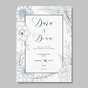 Hand drawn floral wedding invitation design