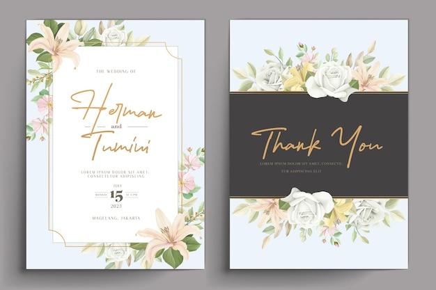 손으로 그린 꽃 결혼식 초대장 템플릿 디자인