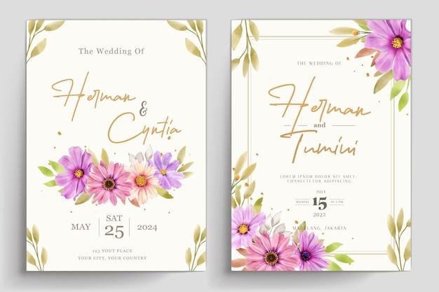 Hand drawn floral wedding invitation template desig