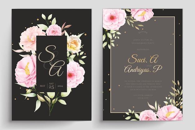 손으로 그린 꽃 결혼식 초대장 템플릿