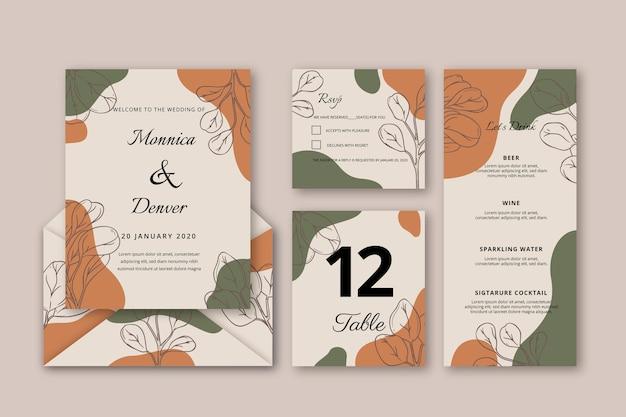 手描き花結婚式招待状テンプレート