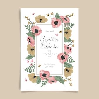 Modello di invito matrimonio floreale disegnato a mano
