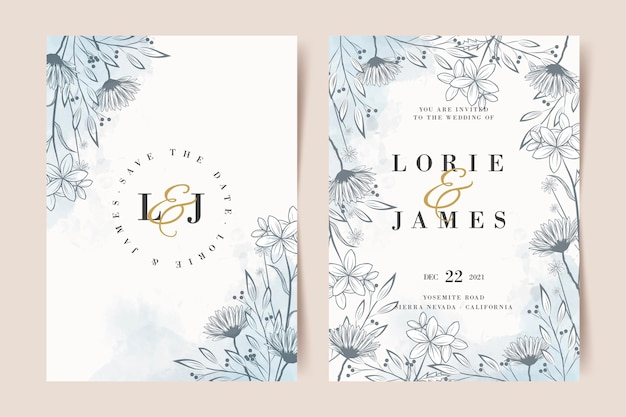 Hand drawn floral wedding invitation template Free Vector