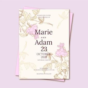 手描きの花の結婚式の招待状のテンプレート