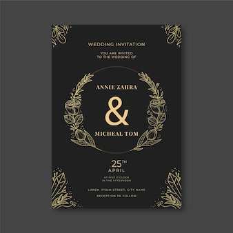 Hand drawn floral wedding invitation template