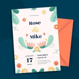 手描きの花の結婚式の招待状のテンプレート 無料ベクター