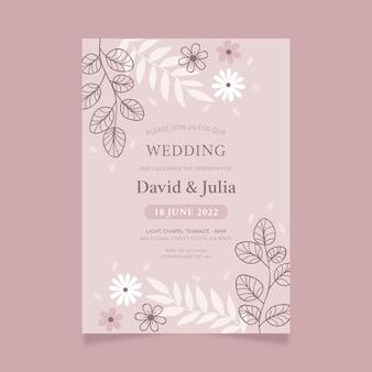 手描きの花の結婚式の招待状のテンプレート Premiumベクター