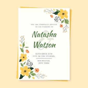손으로 그린 된 꽃 결혼식 초대장 서식 파일