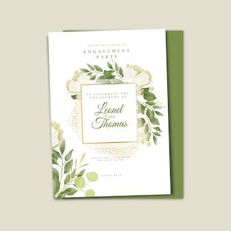 Hand drawn floral wedding invitation template