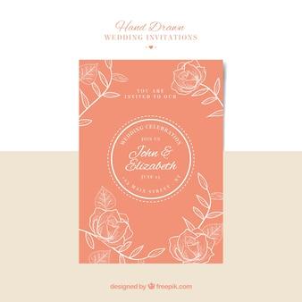 Hand-drawn floral wedding invitation