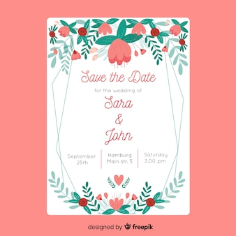 Hand drawn floral wedding invitation