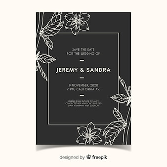 Hand drawn floral wedding invitation