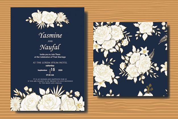 Hand drawn floral wedding invitations design