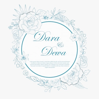 Hand drawn floral wedding invitations design