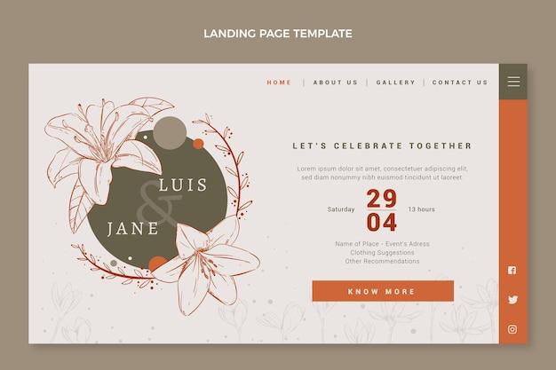 手描きの花の結婚式のランディングページ