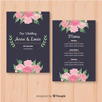 Hand drawn floral wedding menu template