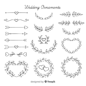 Hand drawn floral wedding ornaments pack