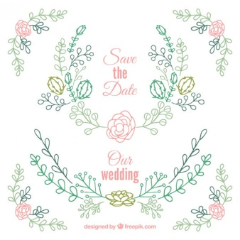 Hand drawn floral wedding ornaments with cactus