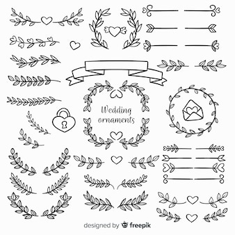 Hand drawn floral wedding ornaments
