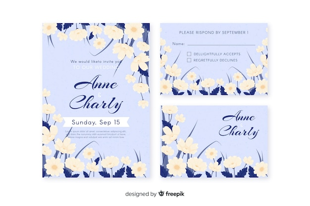 Hand drawn floral wedding stationery template