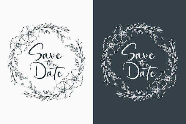 손으로 그린 꽃 결혼식 화환과 결혼식 모노그램