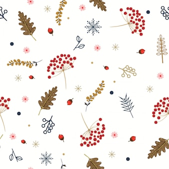 Hand drawn floral winter seamless pattern with christmas leaves and berries.