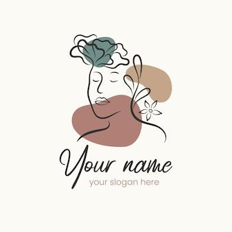 Hand drawn floral woman logo