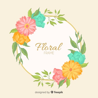 Hand drawn floral wreath background