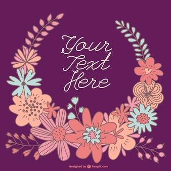 Hand-drawn floral wreath card template