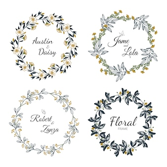 Hand drawn floral wreath collection for wedding