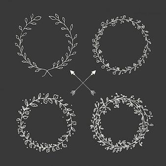 手描きの花の花輪コレクション