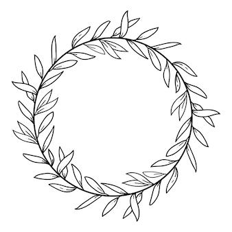 Hand-drawn floral wreath, decorative frame