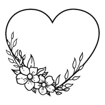 손으로 그린 꽃 화 환, 장식 프레임. 흰색 배경에-벡터 일러스트 레이 션 절연