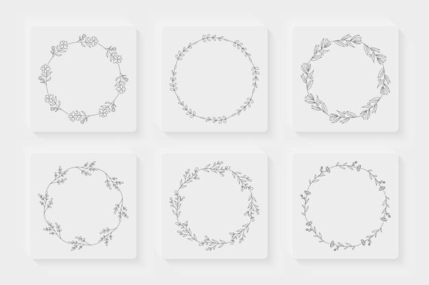 Набор рисованной цветочный венок Premium векторы