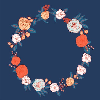 Hand drawn floral  wreath pattern vector