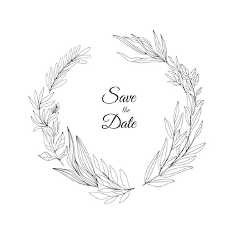 Hand drawn floral wreath save the date